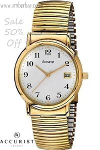 Gents Gold Tone Stainless Steel Expandable Accurist Watch MB966WA