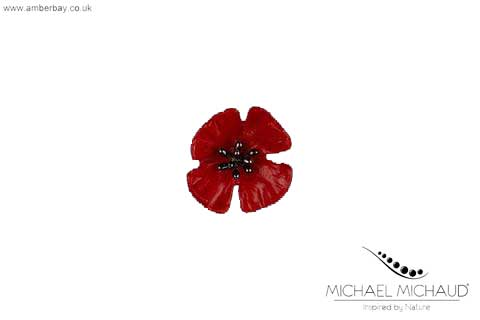 Michael Michaud Red Poppy Pin