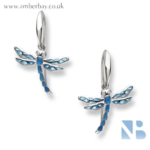Nicole Barr Silver Blue and White Topaz Dragonfly Drop Earrings NW0143YA