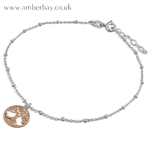 Sterling Silver and Rose Gold Plated Tree of Life Anklet