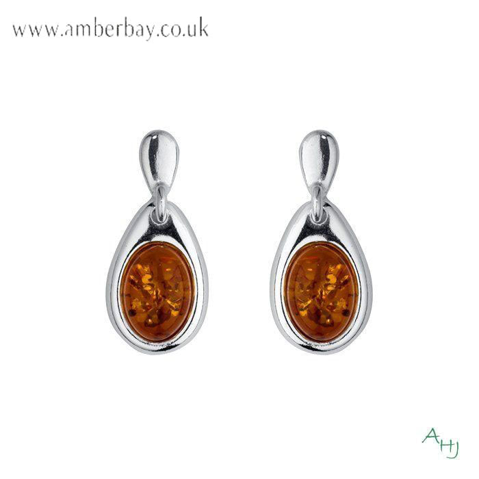 Sterling Silver and Cognac Amber Drop Earrings