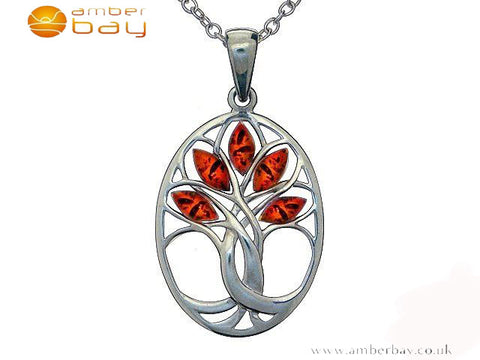Silver Amber Oval Tree of Life Pendant and Chain