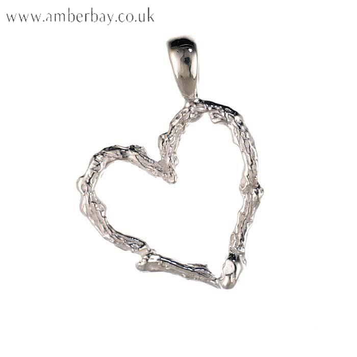 Sterling Silver Hammered Heart Pendant