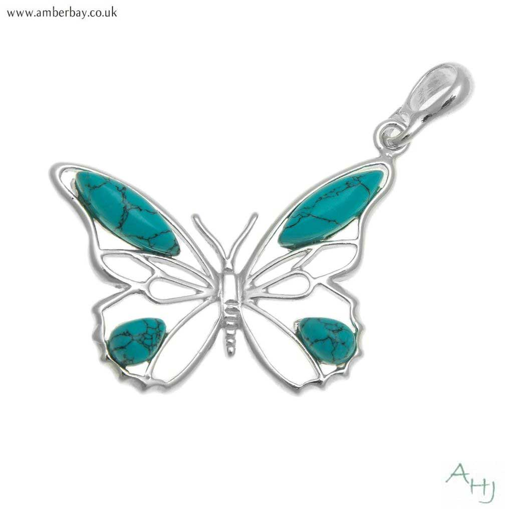 Silver and Turquoise Butterfly Pendant