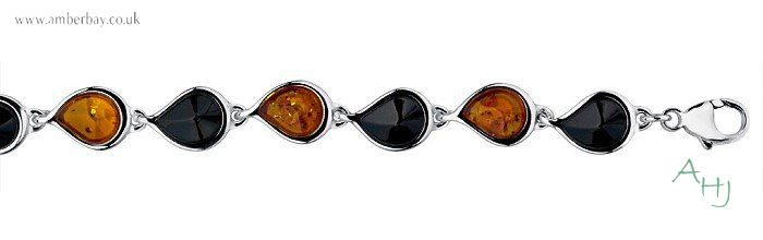 Whitby Jet and Cognac Amber Sterling Silver Bracelet