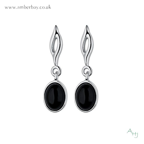Whitby Jet and Sterling Silver Drop Earrings
