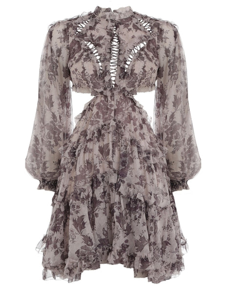 ZIMMERMANN MOST WANTED Juno open-back ruffled silk-crepon mini dress  Ladies