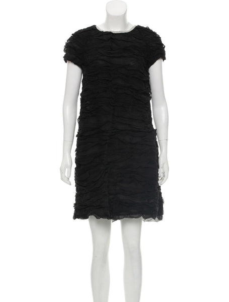 CHLOÉ CHLOE RUCHED MINI BLACK SILK DRESS ladies