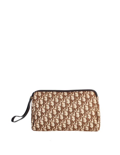 CHRISTIAN DIOR Limited Edition Rare VINTAGE BROWN MONOGRAM CLUTCH BAG LADIES