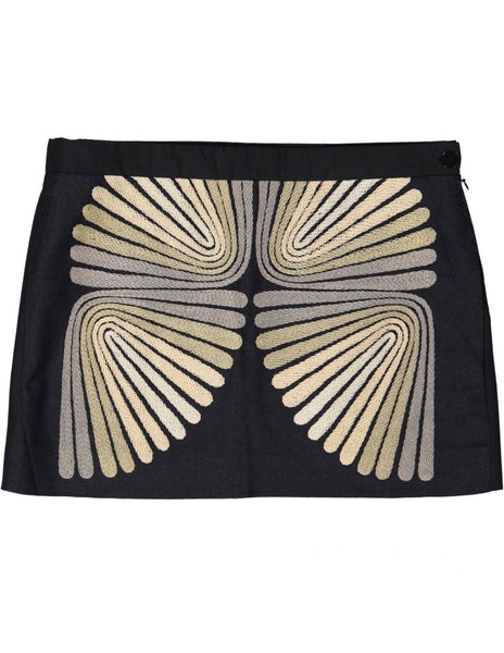 CHLOÉ CHLOE BLACK SILK & WOOL EMBROIDERED MINI SKIRT Ladies