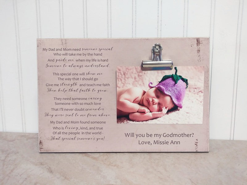 will you be my godparents photo frame, godmother gift, baptism gift