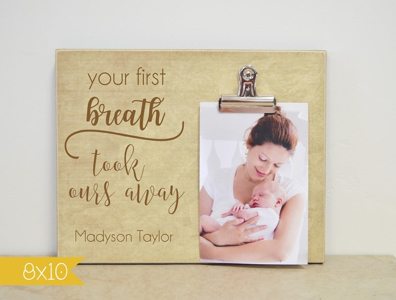your first breath took ours away nursery decor photo frame gift for baby