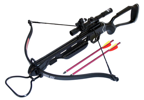 150 Lbs Black Metal Crossbow Hunting Package with Pack of Arrow Scope & Laser