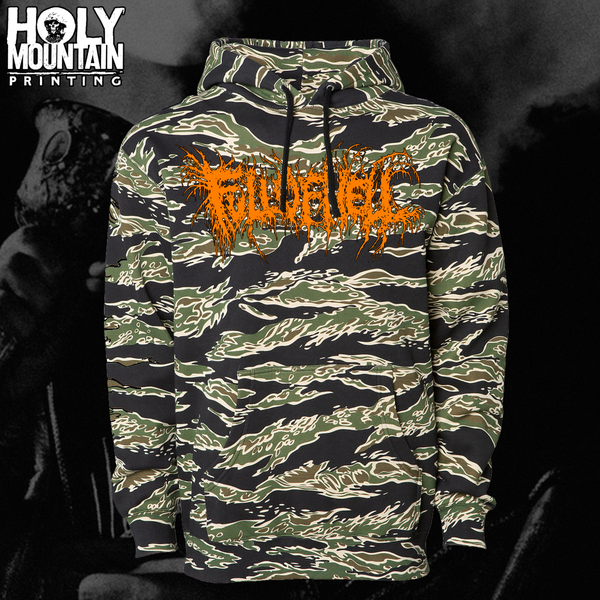 Full Of Hell Quot Tiger Camo Quot Pullover Hood Holymountainprinting