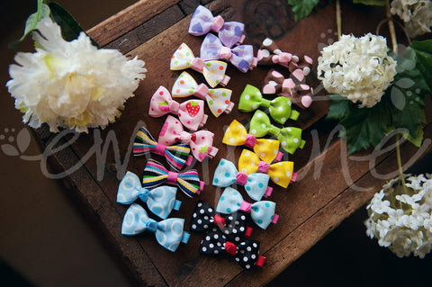 Vintage Double Matching Hair Bow Clips Set - Ema Jane