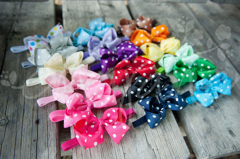 Polkadot Grosgrain Bows on Soft Iridescent Headbands - Ema Jane