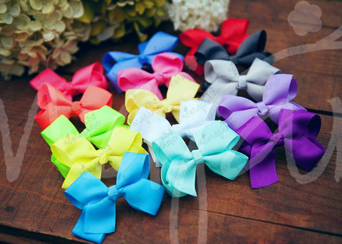 Grosgrain NEON Bows Secured to Double Prong Clips, Bows,Hair Flowers,Hair Clips, Ema Jane Boutique