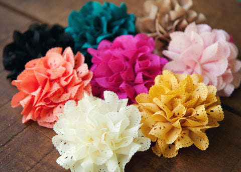 Fancy Eyelet Laced Flowers on Soft Lace Headbands, Headbands,Hair Flowers,Bows, Ema Jane Boutique