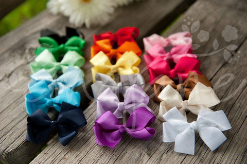 Grosgrain Bows Secured to Double Prong Clips, Bows,Hair Flowers,Hair Clips, Ema Jane Boutique