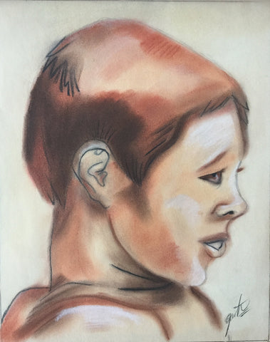 Pastel: Human male profile.