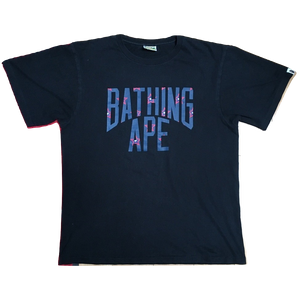 A Bathing Ape 'Bathing Ape' Logo Tee - Navy