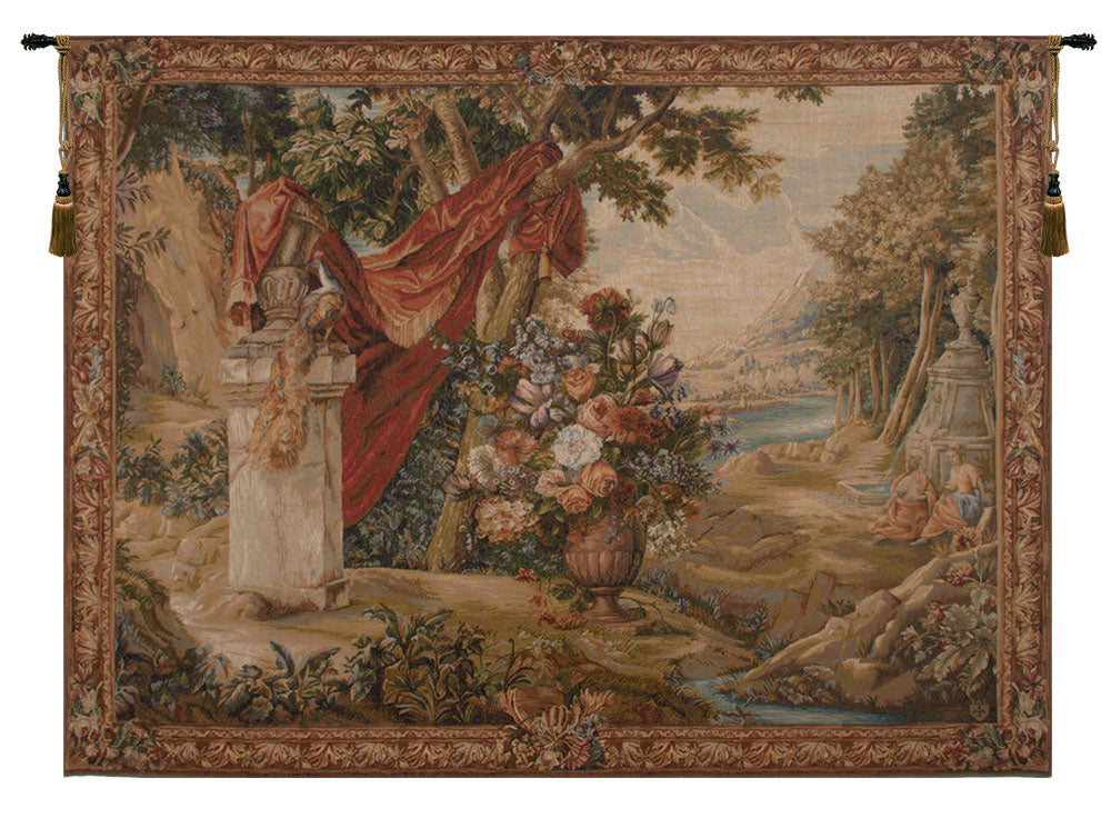 Bouquet Au Drape Fontaine with People French Tapestry - Tapestry Zest