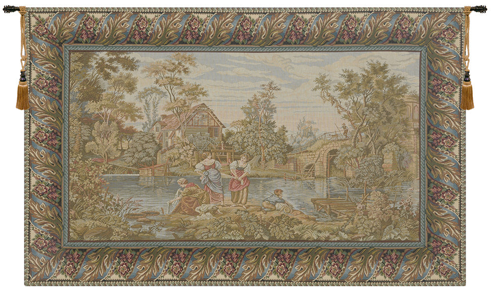 Washing Day at the Mill Horizontal  Italian Tapestry