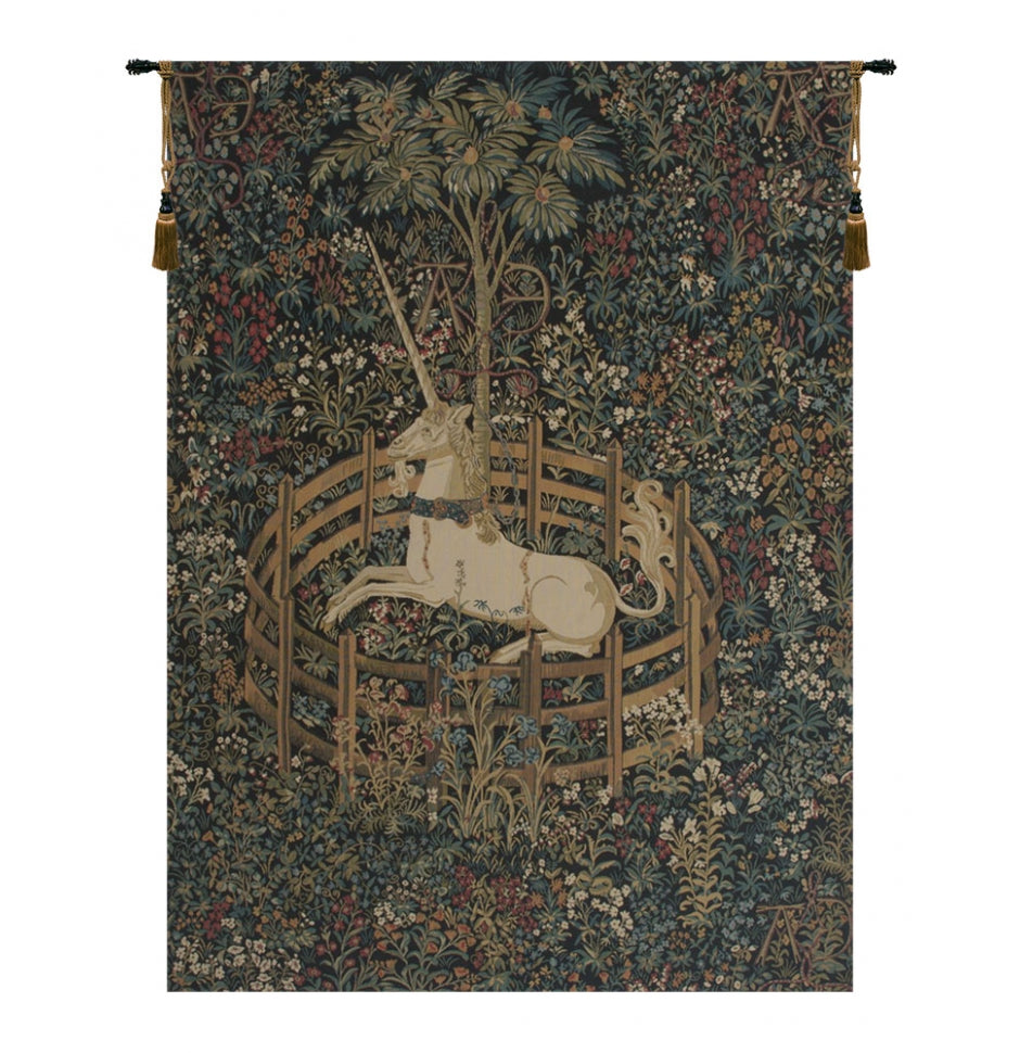 "Unicorn in Captivity Wall Tapestry, 50""x36"""