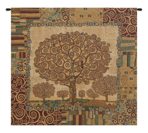 "Klimts Tree of Life Italian Wall Tapestry, 25"" X 25"""
