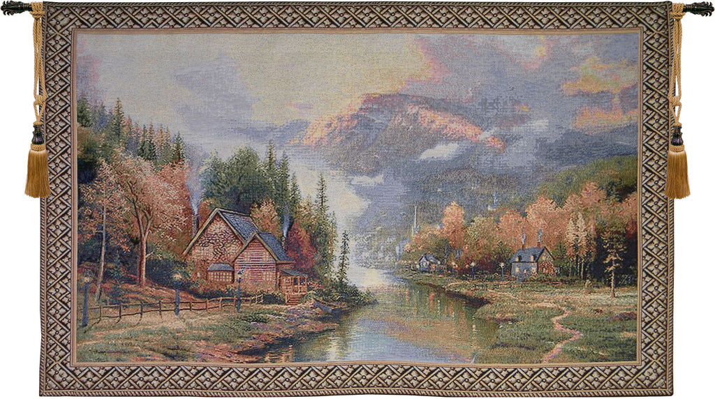 Misty Mountain Cabins Tapestry Wall Art - Tapestry Zest
