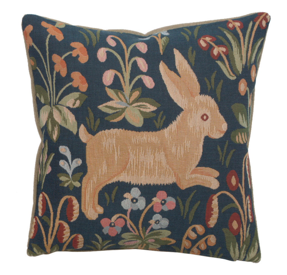 Medieval Rabbit Running French Cushion Cover