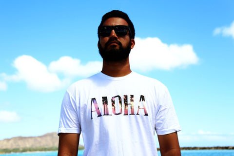A picture of front side Aloha Paradise Fill White T shirt