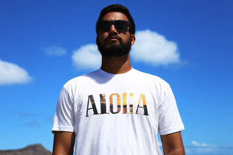 A picture of front side Aloha Love Fill White T shirt