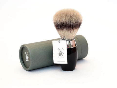 MUHLE: 31 K876 SILVER TIP FIBER SHAVING BRUSH, BLACK RESIN HANDLE