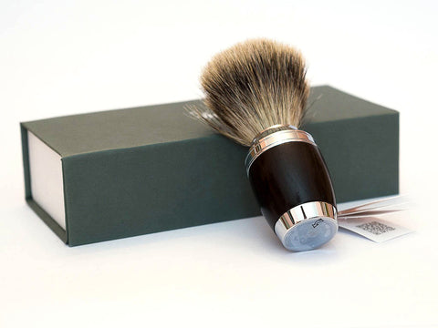 MUHLE: H75 FINE BADGER SHAVING  BRUSH WITH AFRICAN BLACKWOOD HANDLE