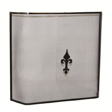 Fire Guards,Spark Screens Inglenook PEWTER BLACK SINGLE SCREEN CREST- (FIRE97) - Flying Dutchman Stores