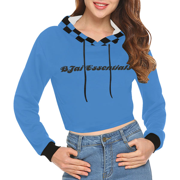 BJai Checkered Blue Crop Hoodie