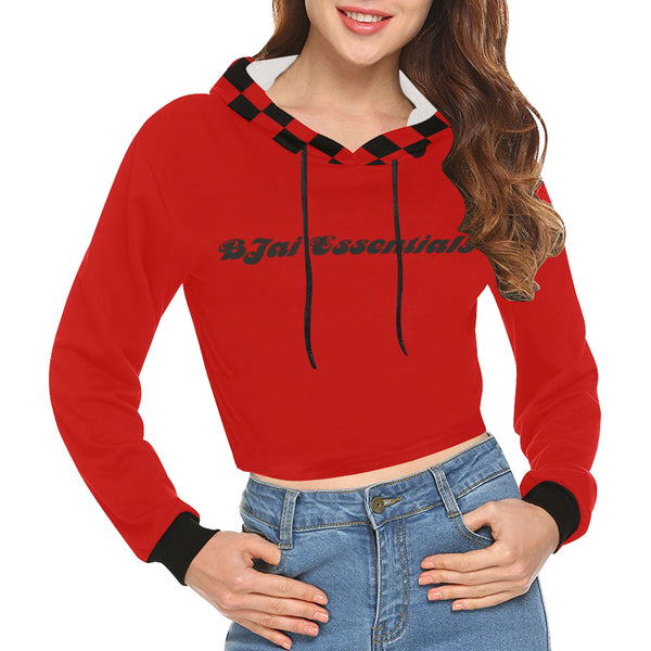 BJai Checkered Red Crop Hoodie