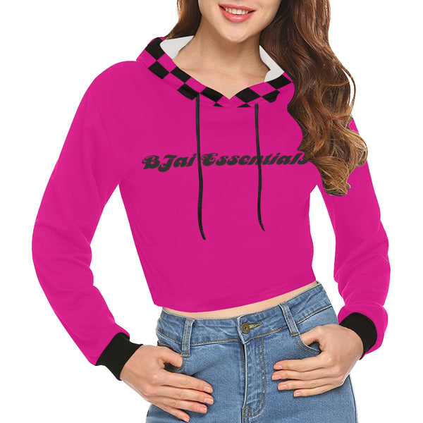 BJai Checkered Pink Crop Hoodie