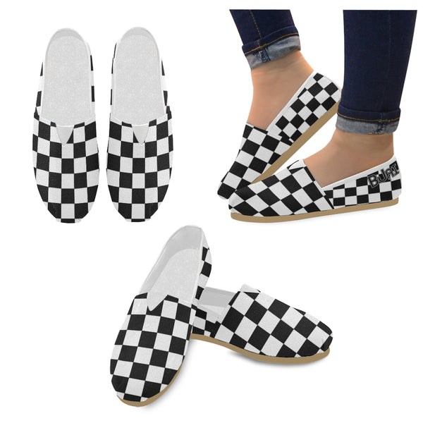 BJai White Checkered Unisex Casual Shoes