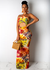 Broken Pieces Tie Dye Maxi Dress