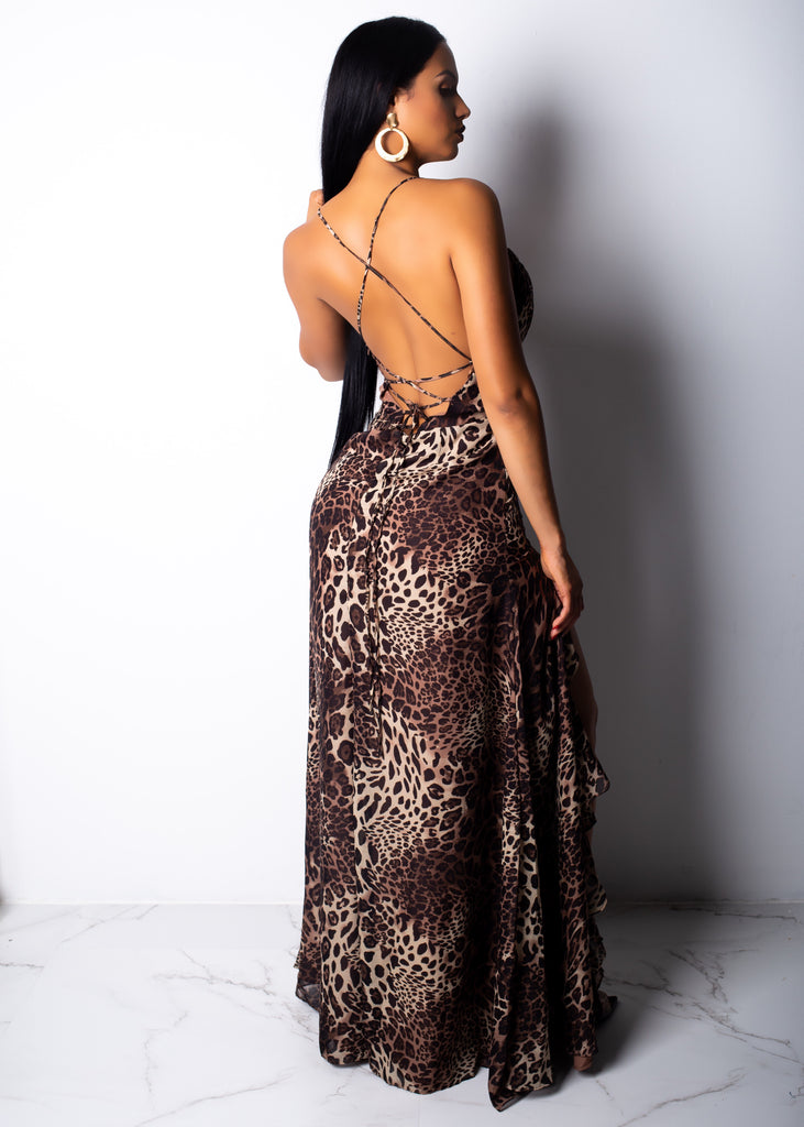 Real Life Diva Leopard Maxi Dress