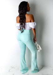 Solid Color Flare Jeans