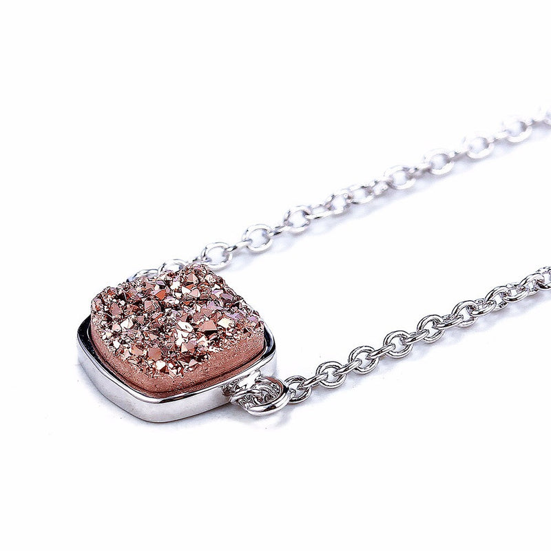 Silver Rose Gold Druzy Square Necklace