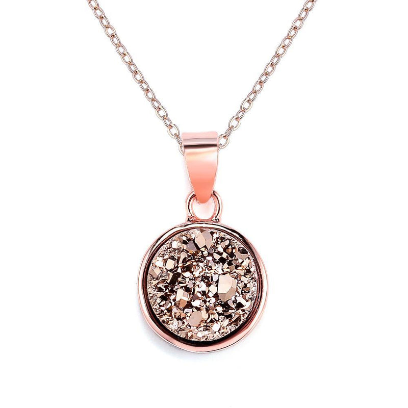 Rose Gold Druzy Mini Circle Necklace