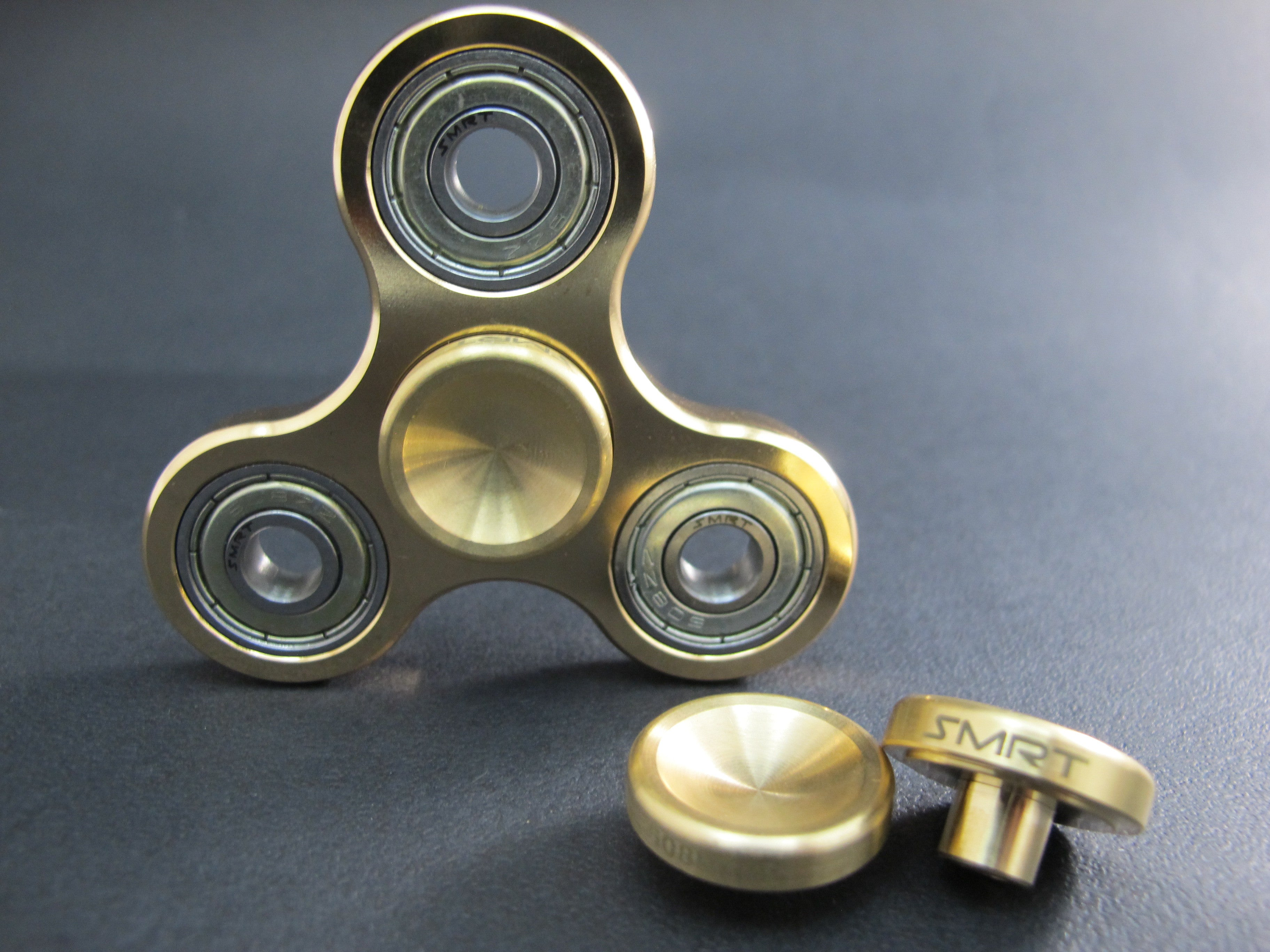 Gadget - 608 bearing button for Fidget Spinners (Brass Concave Br02)