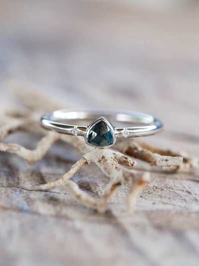 Blue Rose Cut Diamond Ring | Build Your Own - Gardens of the Sun Jewelry