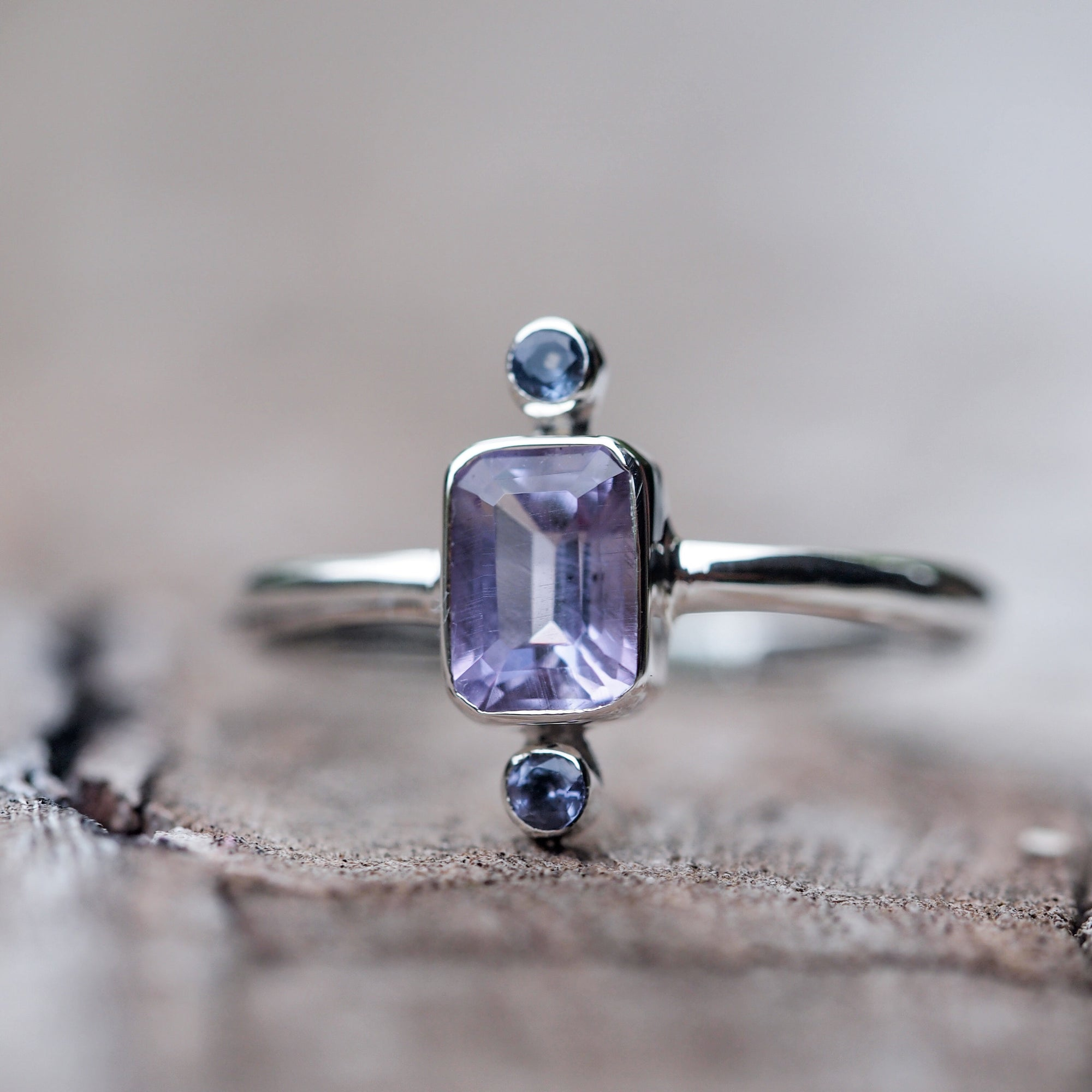 Meaning of Light // Amethyst and Tanzanite Ring - Gardens of the Sun Jewelry