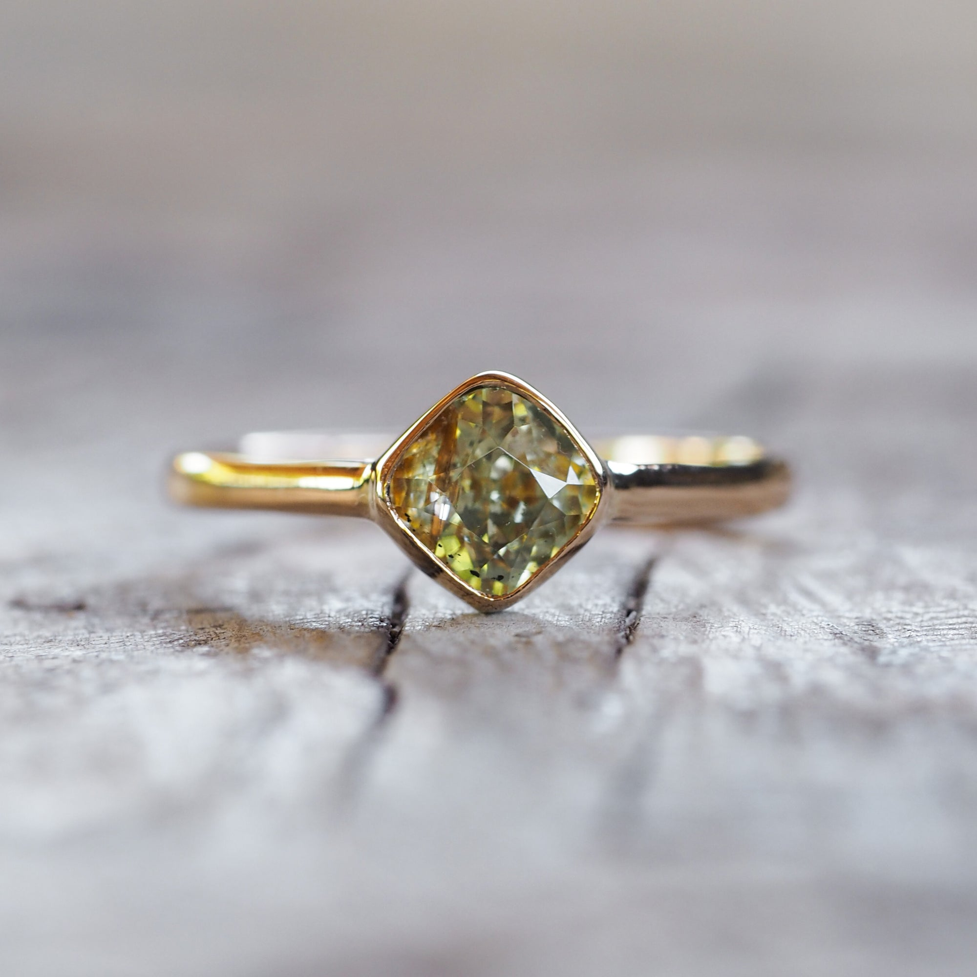 Rutile Golden Sapphire Ring in Gold
