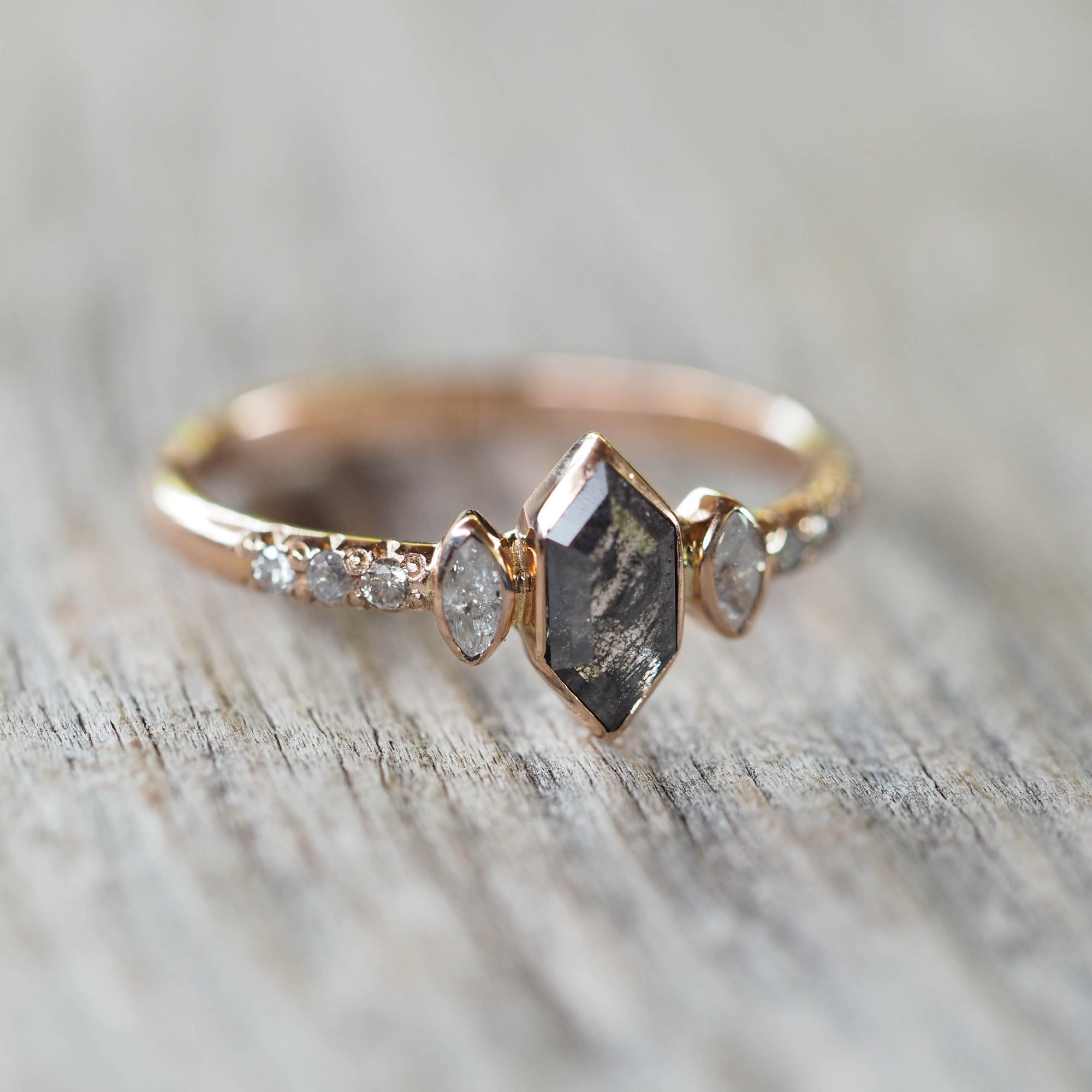 Three Stone Hexagon Diamond Ring